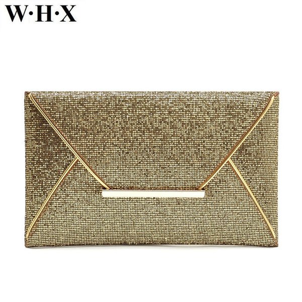 WHX Women Clutch Bag Shining Gold Women Evening Bags Female Latest Design Fashion Casual Female Envelope Bag New Style Purse