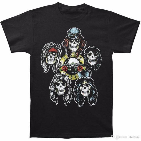 Kişiselleştirilmiş T Shirt Hediye O-Boyun Kısa Kollu Guns N Roses Erkekler Kafaları Vintage Vintage T-shirt Boyutu S 3XL Gömlek Erkekler Için