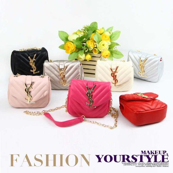 Kids Handbags Hot Sale Fashion Korean Girls Chain Coin Purses Lovely Design Classic Letter Mini Shoulder Bags Children Christmas Gift