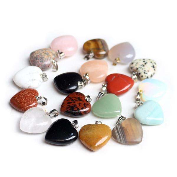 Fashion 21 Designs 20*23mm Necklace Pendant Natural GemstoneHeart Shaped Energy Balance Reiki Healing Chockers Chakra Beads Crystal Jewelry