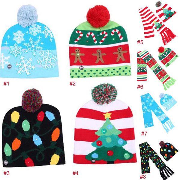 4 di Natale di stile ha condotto la luce Flessibilità adulta dei bambini del cappello del cappuccio di illuminazione del crochet albero di Natale LED Beanie Hat + sciarpa trasporto libero