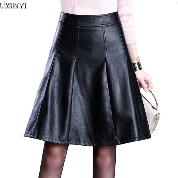 modern design meet pretty and colorful 2019 LXUNYI Plus Size Black Faux Leather Skirts 2017 Autumn Winter Washing  PU Leather Skirt Knee Length Fashion A Line Skirts Women From Ckline, $35.9  ...