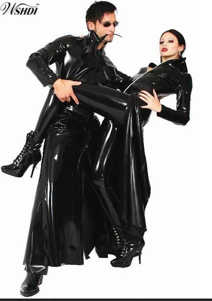 Acquista Nuovo Elenco Uomo Donna Nero Lucido PVC Latex Matrix Neo Long Cappotto Lungo Trench In Pelle Sintetica Costume S XL A $49.72 Dal Vanilla03  
