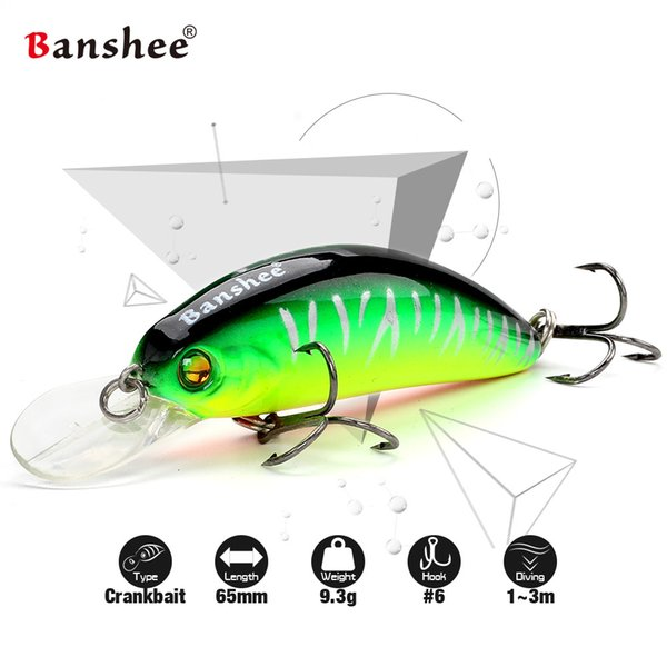 Banshee 65mm 9.3g GO-CM003 Trout Perch Fishing Lure Floating Wobbler Artificial Bait Shallow Diving Crank Minnow Crankbaits Y18100806