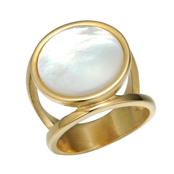 Gold Sier Color Stainless Steel Ring Pave White Opal Couple Wedding Rings Men Women Jewelry