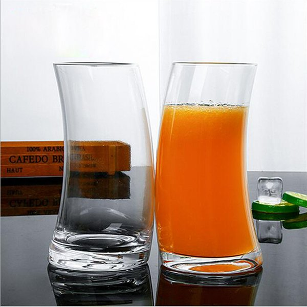 Creative 530ML Crystal Juice Glasses Water Tumbler Crescent Moon Shape Drinkware Beer Glass Cups Glasses Juice Mugs Party Coffee Shop Supply
