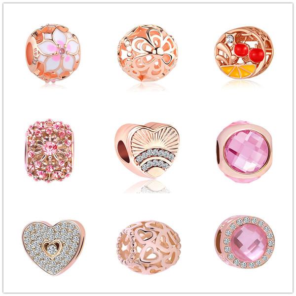 newest free shipping MOQ20pcs european rose gold heart fan of love diy loose jewelry bead Fit Pandora Charm Bracelet D012