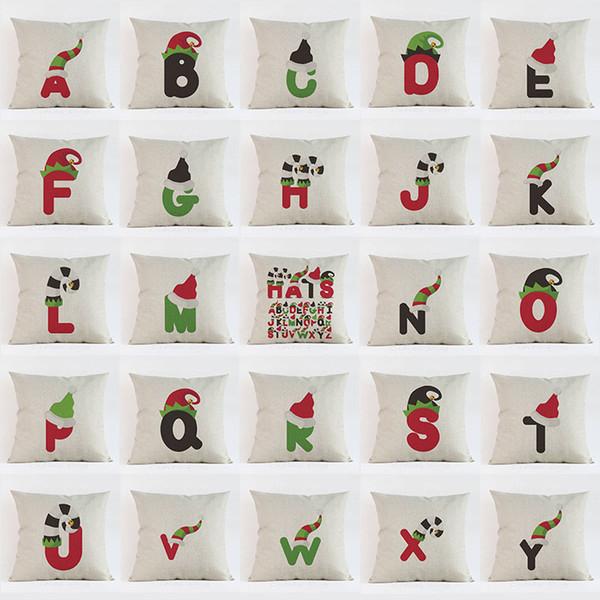 Acheter Chapeau De Noël Lettre Alphabet Imprimer Taie Doreiller Oreillers Décoratifs Housse De Coussin Utiliser Pour La Maison Canapé De Voiture