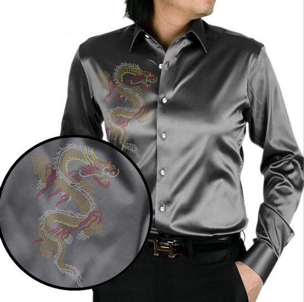 Grey chinese dragon printing men's silk shirt casual men long sleeve summer wedding dress shirt party
