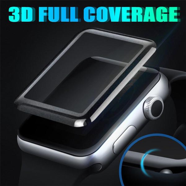 Für Apple Watch iWatch 2 3 4 3D gebogene Kante Vollbild-Abdeckung 38mm 42mm 40mm 44mm gehärtetes Glas Protector mit Kleinkasten