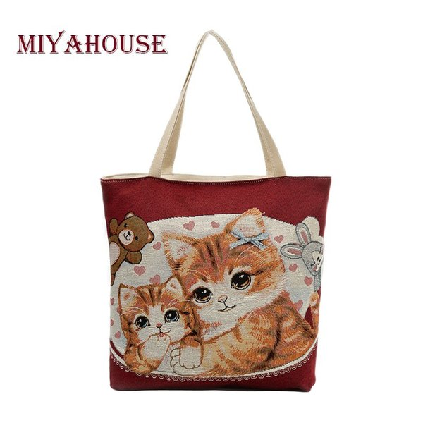 Miyahouse Large Capacity Women Shoulder Bag Canvas Ladies Handbag Lovely Cats Print Beach Bag Embroidery Shopping Female