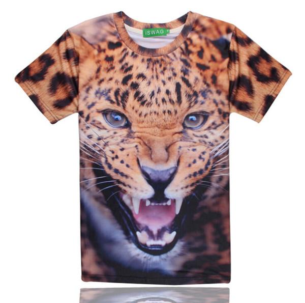 T-shirt Leopard masculinos de verão Roupa Printing Tops Moda de Nova manga curta T-shirt tamanho M-2XL