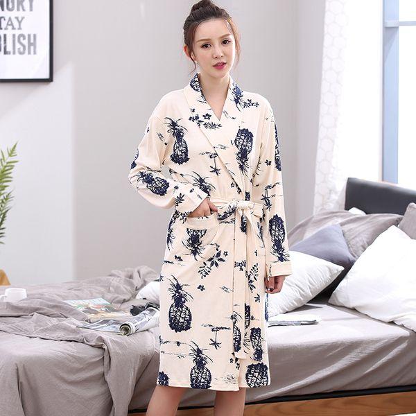 New 100%Cotton Floral Long Sleeve Women Robes Nightgowns V-neck Cardigan EleHigh Quality Plus Size L-XXXL Female Bathrobe