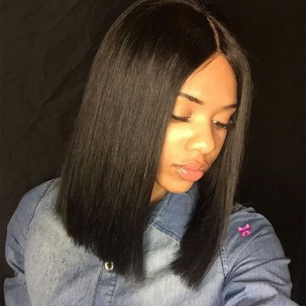 9A Light Yaki Full Lace Wig With Baby Hair Peruvian Virgin Full Lace Front Human Hair Short Bob Wigs For Black Women