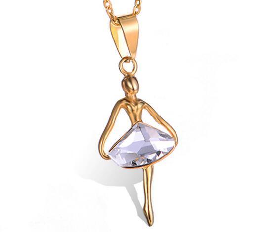 Livraison gratuite mode européenne et américaine en acier inoxydable ballerine pendentif mode sertie de l'eau diamant fille collier mode populaire