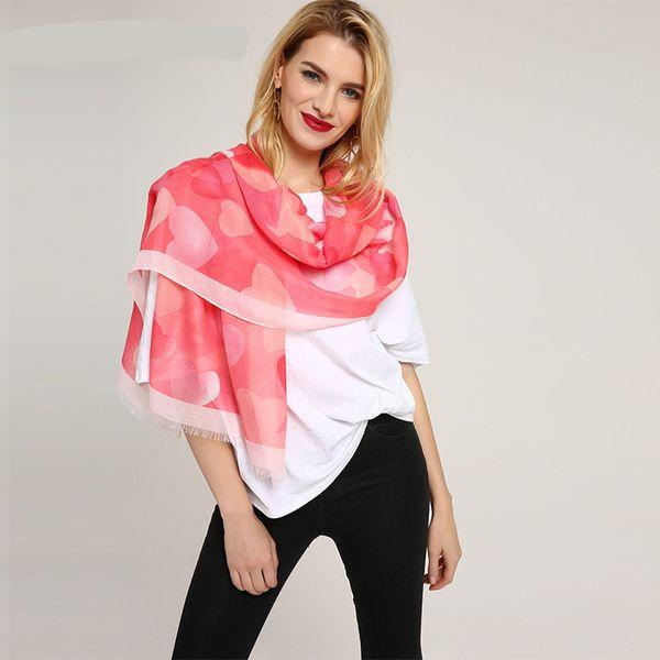 Echarpe Cotton Scarf Scarves Women Shawls Pashmina Wraps Thin Color Love Heart Print Pattern Long Spring Summer Beach