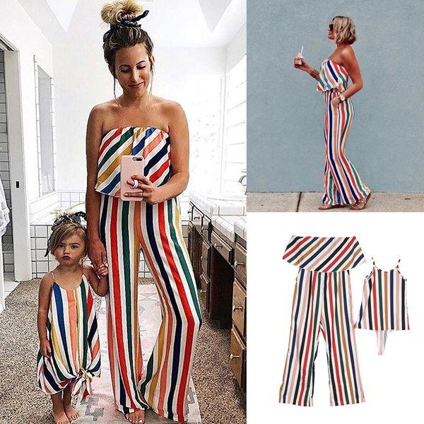Compre Mãe Filha Listras Coloridas Roupas Shoulderless Jumpsuit Vestido Família Combinando Roupas Bebê Menina Verão De Universecp 4042