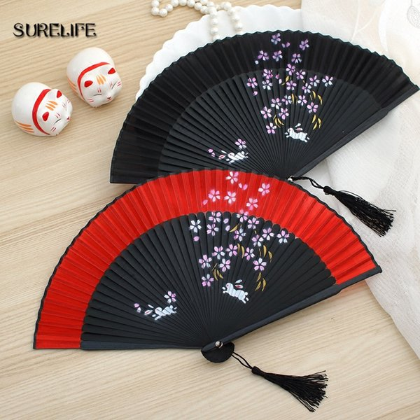 Surelife 1pc High Quality Japanese Silk Sakura Painting Folding Fan with Gift Bag Tassel Wedding Gifts for Guests Party