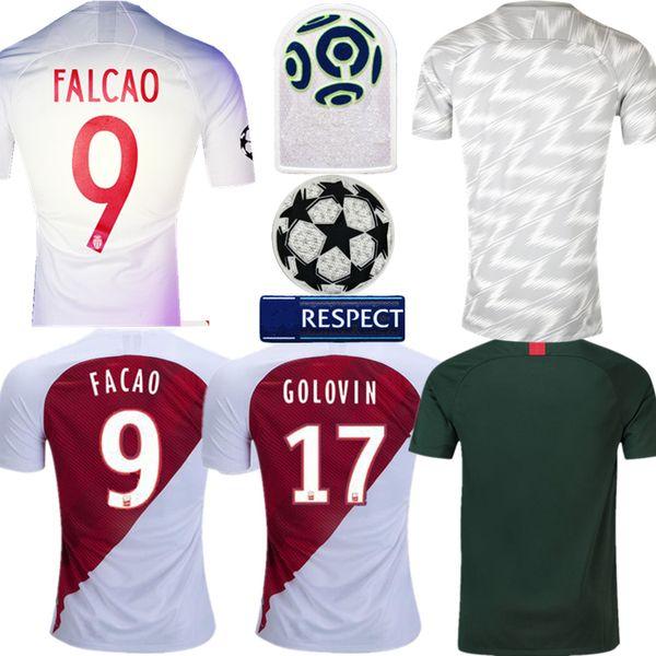 Thai quality adults Jersey 2018 2019 Monaco football Jersey Home Falcao Lopes Golovin Monaco away man soccer Jersey Pre Match Shirt
