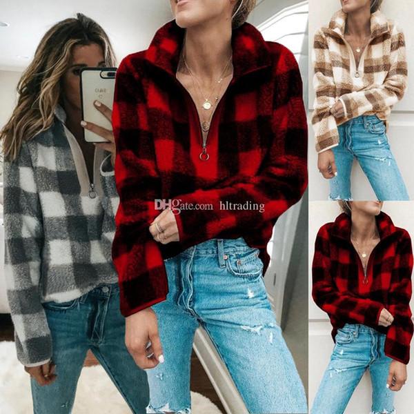 Women Fleece Sherpa sweater plaid Sweatshirt fashion Pullover Autumn Winter Casual woman lattice Tops Maternity Clothing C5523