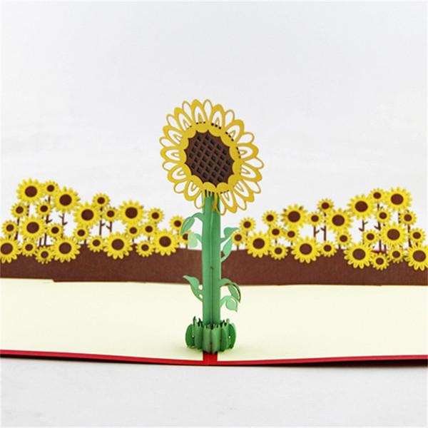 Düğün Doğum Günü Partisi Davetiye 3D Ayçiçeği Davetiyeleri Favor Yeni Yıl Güneşli Çiçek Tebrik Kartı Sıcak Satış 6 5qy hh