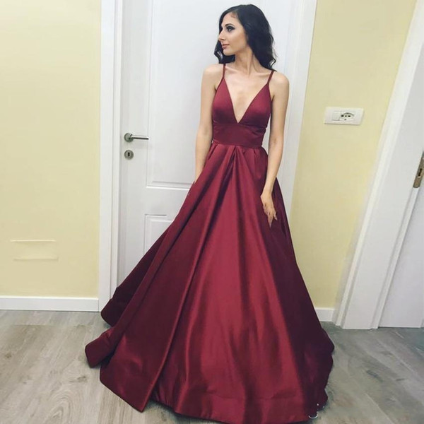 Elegant Burgundy Red Satin Prom Dresses Deep V Neck Spaghetti Straps Ruched Floor Length Backless Evening Dresses Simple Formal Dresses