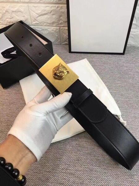 2018 New Black Luxury Unisex Cintos para Mulheres Dos Homens de Qualidade Superior de Cobre Abelha de Tigre Fivela Lisa Real Cinto De Couro Cinturão Da Marca com Caixa Original