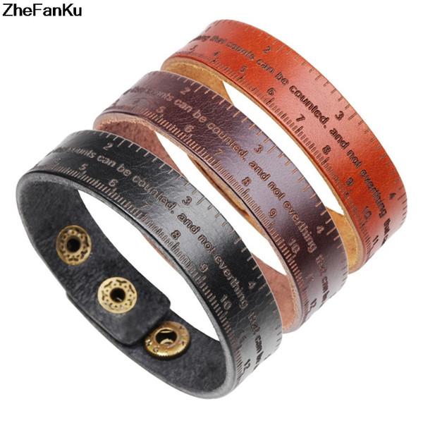Multifunktionale Herrscher Lederarmband Männer Vintage Breite Manschette Armreifen Verstellbare Schnalle Armband Männlichen Armband BlackBrown