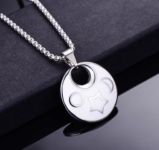 new Stainless steel drop glue lovers necklace titanium steel fashionable round black and white dichromatic pendant does not fade popular hot