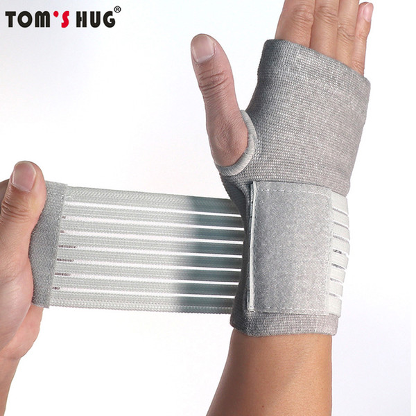 Tom's Hug Professional Sports Wristbands Wrist Support 1 Pair Pressurizable Bandage Palm Protect Wrist Brace Wristband Grey