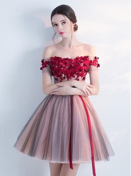 Compre 2018 Nuevos Vestidos Cortos De Baile Sexy De Tul Fuera Del Hombro Flores Hechas Sash Vestidos De Noche Vestidos De Fiesta Vestido De Noiva A