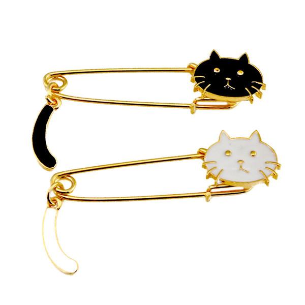 20 STÜCKE Lange Sicherheitsnadeln Broschen Nette Katze Emaille Brosche Hijab Pins Schal Clips Für Weibliche Geschenke Schmuck
