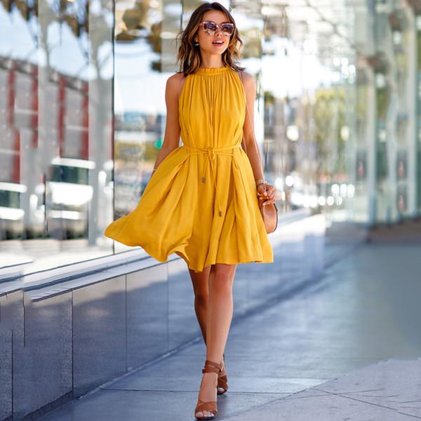 Women Summer Casual Short Sweet Mini Dress Solid Yellow Plus Size  Sleeveless Lace Up Ruffles Mini Dress Fashion Vacation Dress Evening Long  Maxi ...