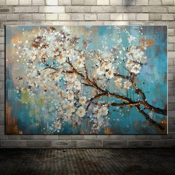 Grande 100% pintado a mano flores árbol abstracto Morden pintura al óleo sobre lienzo Wall Art Wall Pictures para Live Room decoración del hogar