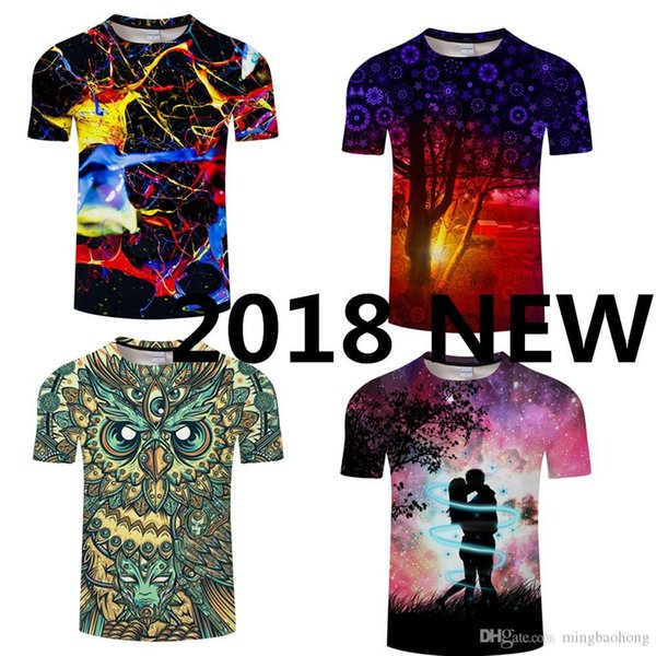 2018 Fashion Summer Owl T-Shirt Men Brand Latest Tops Shirts O-Neck Round Neck Short-Sleeve T-Shirt Cheap Price Mens Tee