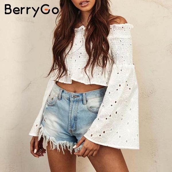 Camicia BerryGo Off ricamata bianca camicetta bianca Donna Morbida camicetta estiva in cotone arricciato Canotta sexy a maniche lunghe