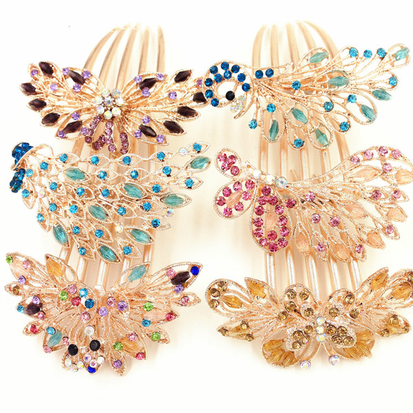 Crystal Hair Clip Hair Peacock Charm Elegant Hairclips Hairgrips Hairpins Headwear Barrettes