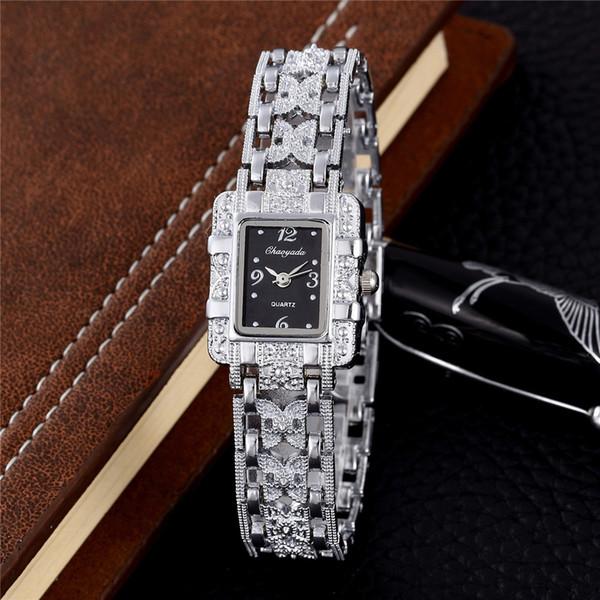 2018 mulheres de quartzo relógio de prata pulseira de metal relógios de pulso das senhoras vestido de mão relógio de luxo rosa de ouro relógio hodinky montre femme