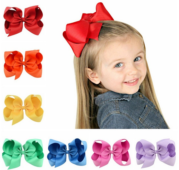 best selling 6 Inch Baby Girl Children hair bow boutique Grosgrain ribbon clip hairbow Large Bowknot Pinwheel Hairpins Hair Accessories decoration Q