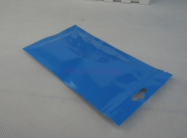 Kopfhörer-Reißverschlusstasche, 100pcs / 10.5x15cm vorderer transparenter blauer BOPP Perlised Film-Ziplockbeutel - pearlised Filmpack-Haarring-Packsack