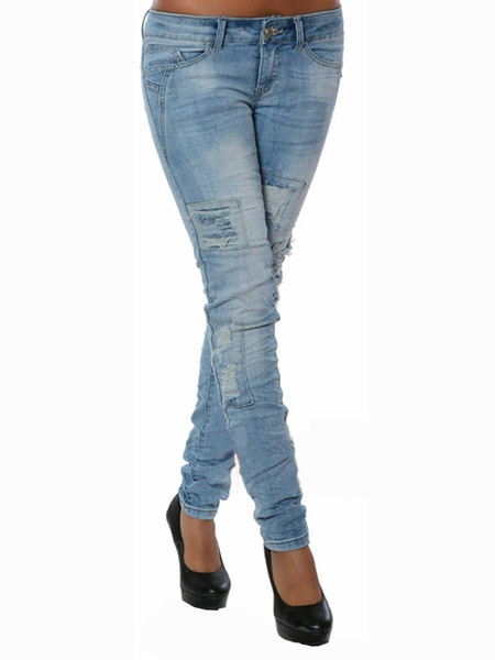 Hot sale Hot sale Ladies Cotton Denim Pants Stretch Womens Bleach Ripped Skinny Jeans Denim Jeans For Female new arrival