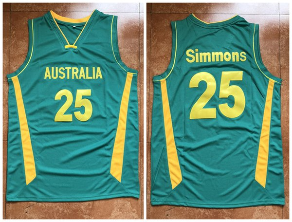 25 Ben Simmons Australia Basketball Jersey Men s Embroidery Stitched Custom  any Number and name Jerseys c593bf402
