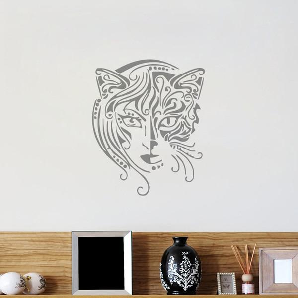 New Design Cat Women Wall Decals Vinyl Art Mural Bathroom Kitchen Window Bedroom Home Decor Interior Hall Wall Sticker