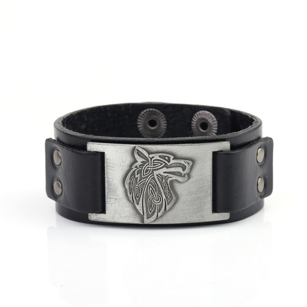 Lemegeton Factory Direct Wolf Head Charm Vintage Jewelry Geniune Leather Viking Designer Bracelet Metal Engraved Mens Bracelet