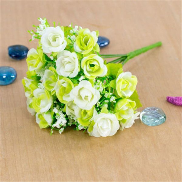 1 Bouquet 21 Head Artifical Plastic Rose Wedding Office Home Decor Party Supply Living Room Cloth Flower