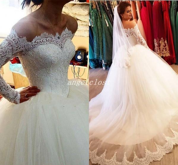 Vintage Spitze Ballkleid Brautkleider 2019 Langarm Schulterfrei Sweep Zug Applikationen Perlen vestido de novia Plus Size