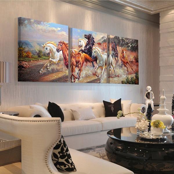 Großhandel Laufende Pferd Chinesische Buchstaben Wandkunst Leinwand Malerei  Heißer Verkauf Poster Wandbilder Wohnzimmer Wohnkultur Modularen Bilder ...