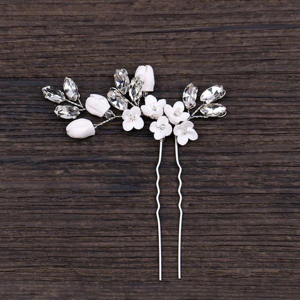 1PCS cristal d'argent à la main fleur Pins cheveux Accessoires de mariage Bijoux de cheveux de mariée tête décoration Pins Ornement de fille