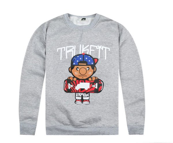 Мода бесплатная доставка Trukfit кофты для мужчин серо-черный Мужские толстовки пуловер с шляпы хип-хоп одежда