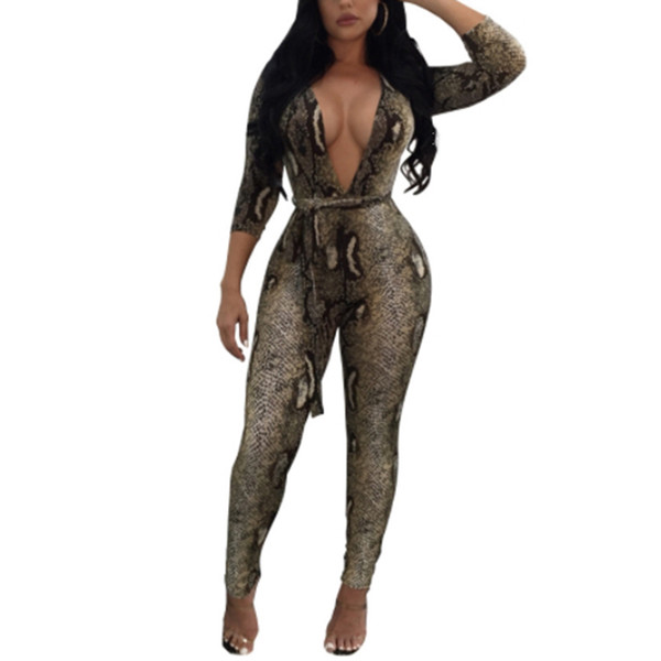 Dream Vine Vintage Printed Jumpsuits Women Romper Bodysuit Autumn Long Sleeve Deep V Sexy Casual Party Overalls Macacao Feminino